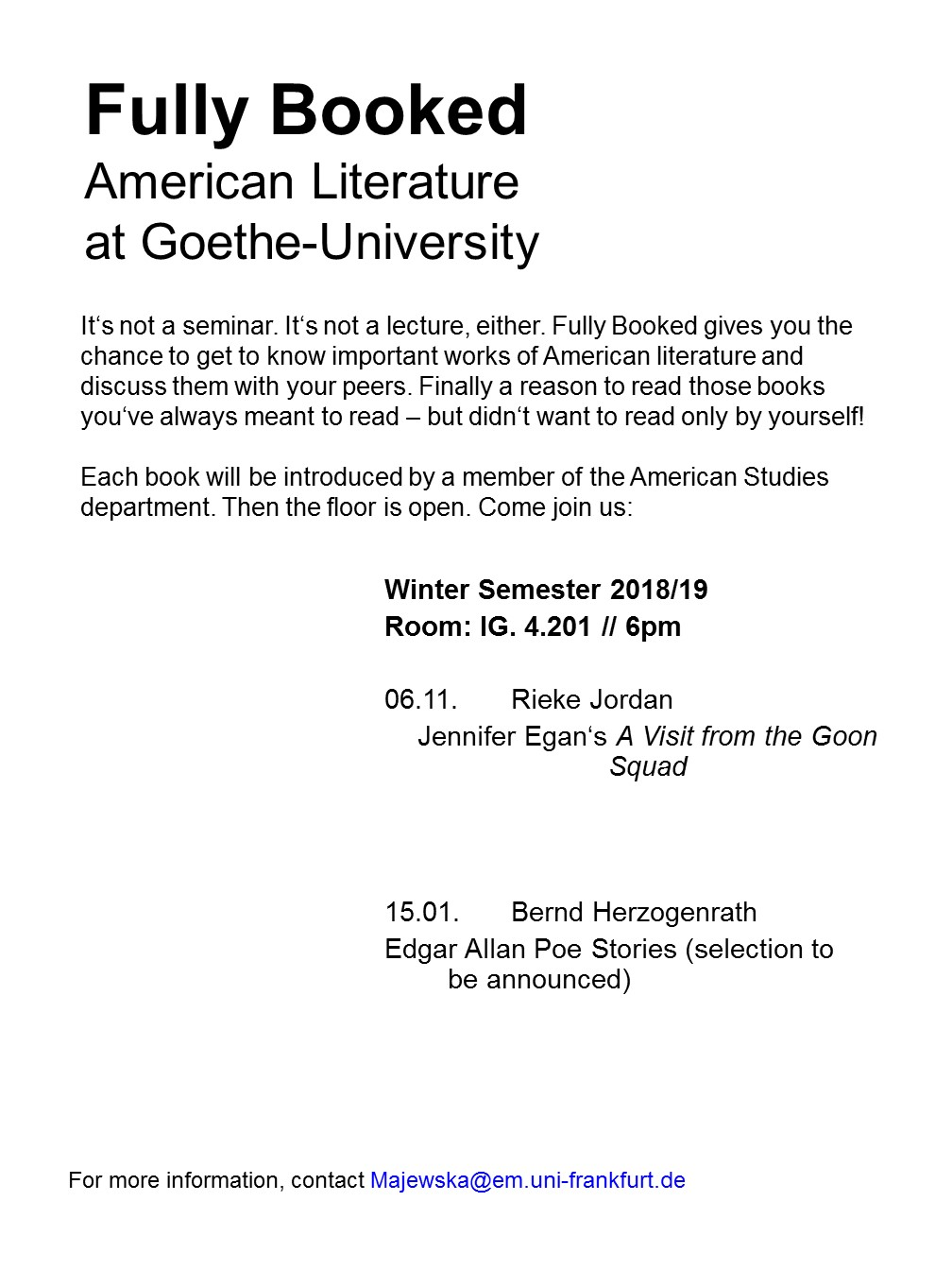 Fully Booked - American Literature at Goethe-University